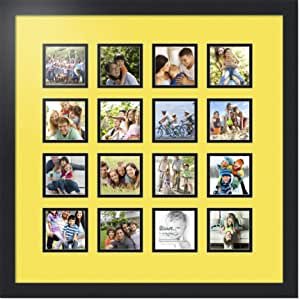 ArtToFrames 拼贴照片框双垫,带 16 个开口和黑色缎框。 Canary 16-3.5x3.5 Double-Multimat-461-47R/89-FRBW26079