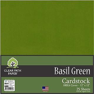 罗勒*卡片纸 - 30.48 x 30.48 厘米 - 453.59 千克覆盖 Basil Green 12 x 12 Inch - 25 Sheets BASILGREEN-100-1212