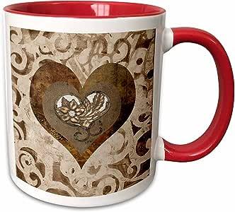 3dRose Beverly Turner 心形设计 - 美丽花朵心形宝石,地球色调和金属外观 - 马克杯 红色 11 oz mug_220515_5