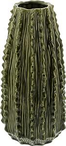 "Deco 79 陶瓷仙人掌花瓶,黑色/灰色/棕色,35.56 cm x 17.78 cm 绿色 14"" x 7"" 62195"