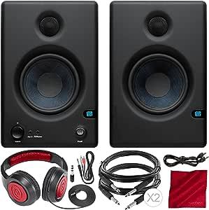 PreSonus Eris E4.5 4.5 4.5 4.5 英寸双向供电近场工作室显示器(一对),带 Samson 封闭式立体声耳机和豪华套装