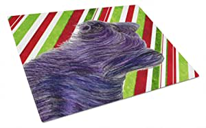 Caroline's Treasures Skye Terrier Candy Cane Holiday Christmas Glass Cutting Board, Large, Multicolor