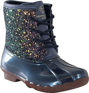 Jessica Carlyle 鸭子女孩和男孩系带双色战斗风格雨鸭靴