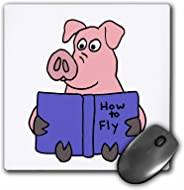 3D 玫瑰哑光鼠标垫 - 8 x 8 Funny Pig Reading How To Fly Book 8 x 8