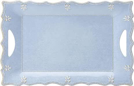 lenox 法国珍珠盛三聚氰胺 dinnerware LG 矩形 platter 蓝色