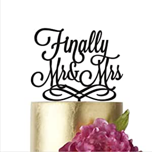 "Finally Mr and Mrs、婚礼蛋糕装饰、蛋糕装饰婚礼、蛋糕装饰、*终蛋糕装饰、*终蛋糕装饰、夫人、先生和夫人蛋糕装饰 银镜 width 6"""