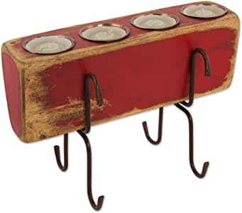 NOVICA 木烛台,Zafra 适用于 Six-PARENT(265196-P) 红色 LL0007