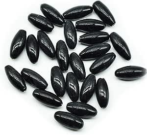 Goelx 陶瓷管状玻璃珠串串珠,珠宝制作和艺术工艺品 - 25 颗串珠(2 厘米 X 1 厘米) 黑色 2cm X 1cm CTGB-Beads-Black