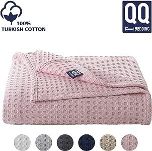 QoupQuru 土耳其棉华夫格织床单毯 - 400 GSM - 冬季家居装饰的完美选择 - 6 种颜色及加大双人床/单人床尺寸保暖毛毯 粉红色 Queen