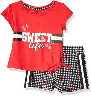 One Step Up 女婴柔软针织上衣和短裤套装