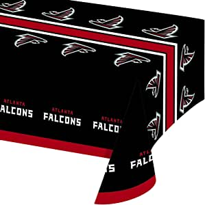 Creative Converting Officially Licensed NFL Plastic Table Cover, 54x102, Atlanta Falcons