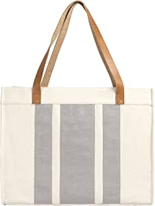 Cathy's Concepts Stitched Stripe Canvas Tote with Leather Handles, Grey