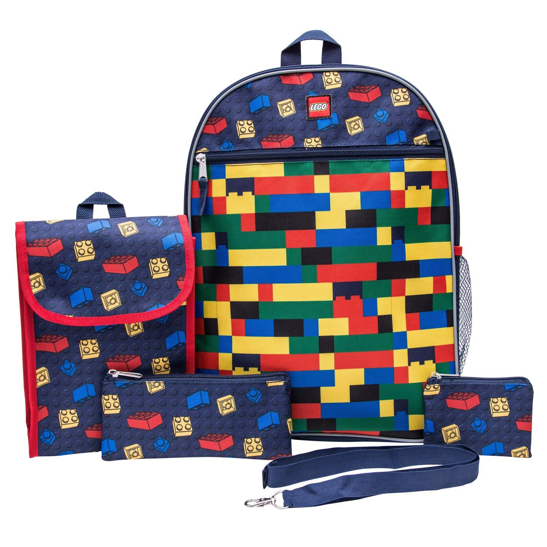 LEGO 经典背包组合套装 - LEGO 男孩 5 件套背包 - 乐高背包和午餐套装(*蓝)