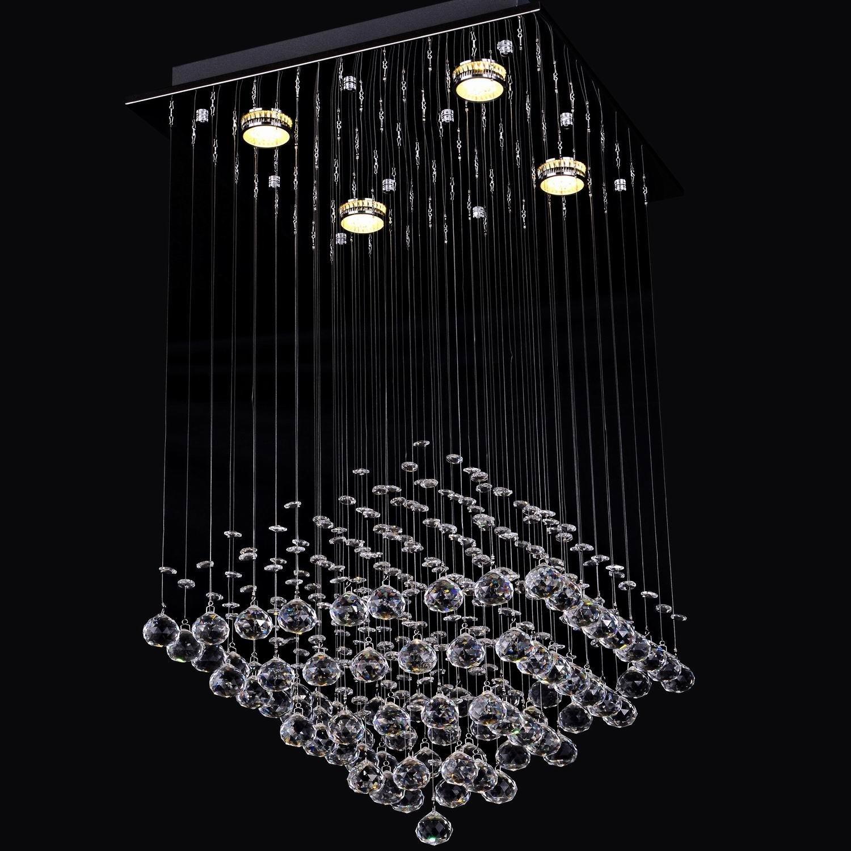 LightInTheBox 现代雨滴透明水晶 4 盏灯嵌入式天花板灯具吊灯灯吊灯照明