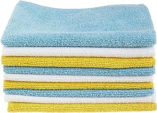 AmazonBasics 超细纤维清洁布-24包,蓝色,白色和黄色