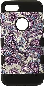iPhone 7/8 涂胶设计凝灰岩混合型保护盖IPHONE7HPCTUFFTROIM413NP Purple European Flowers/Black