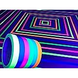 GreyParrot 胶带荧光布带,黑光胶带下*佳反光带,每卷 83.82 m (共 4.06 米),5 包 0.59in x 33ft Blue, Green, Yellow, Pink, Orange, White