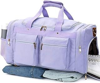 "BLUBOON 旅行行李袋 帆布周末过夜随身携带行李包 真皮饰边 适合女士 男士 833 purple 20.5""/10""/12.2""(52*25*31cm)(L*W*H)"