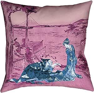 "ArtVerse Katsushika Hokusai 日本 Courtesan 蓝色和粉色 x 35.56 cm Pillow-Spun 涤纶双面印花带隐藏式拉链和衬垫 14"" x 14"" HOK040P1414B"