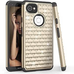 谷歌 Pixel 2 XL 手机壳,2017 谷歌 Pixel 2 XL 女士闪光手机壳,TILL(TM) 镶嵌水钻水晶闪亮奢华减震混合保护坚固可爱手机壳 金色/黑色