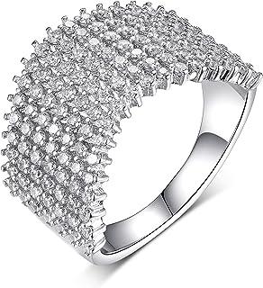 PORI JEWELERS 925 纯银 7 行 3 毫米 锆石水晶戒指 - 适合女士和女孩 - 多款精致珠宝