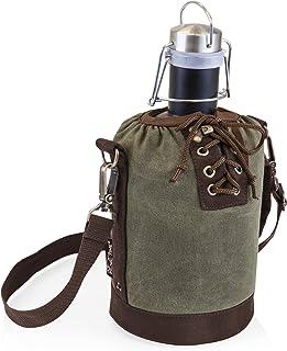 Picnic Time 不锈钢粗麻布带哑光黑色表面和灰色黑色帆布系带手提包,64盎司 Khaki Green 64 oz 610-84-140