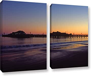 ArtWall Kathy Yates 'Santa Barbara Pier At Sunset' 2 Piece Gallery-Wrapped Canvas Artwork, 24 by 32""