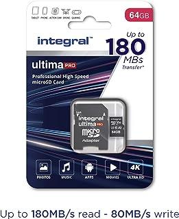 Integral 64GB Micro SD 卡可读取 180MB/s 并写入 80MB/s MicroSDXC V30 U3 UHS-1 4k 视频 A2-2020 新款