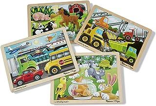 Melissa & Doug 木制拼图套组:交通工具、宠物、施工车和农场(4张拼图)