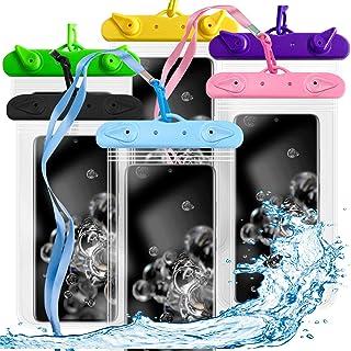 N A 6 包通用浮动防水手机壳手机干燥袋/袋适用于 iPhone X 8 7 6 6S Plus Galaxy S8/S7 Edge/S6 Note4 LG G5 Up to 6.5 英寸(紫色,蓝色,玫瑰红,*,黑色,黄色)