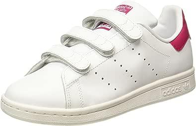 adidas Unisex Kids' Stan Smith CF Gymnastics Shoes, White (Footwear White/Footwear White/Bold Pink 0), 3 UK 35.5 EU