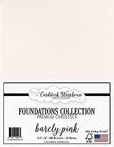 粉底卡片纸 - 21.59 x 27.94 厘米 100 磅 封面 - 从卡纸仓库中 25 张 Barely Pink CWC-BARELYPINK100-8511-25PK
