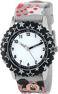 Disney 儿童 W000287 米老鼠不锈钢时间老师黑色表圈印花表带手表