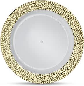 Laura Stein 设计师餐具 Glitz 系列白色盘子带锤镀金边框 塑料一次性盘子 9'' INCH PLATES GLZ-P9G