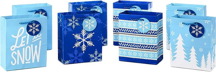 Hallmark 节日小礼品袋套装 - 雪花、条纹、快乐(5 件装;红色、白色和牛皮绒) Holiday Bundle, Small 小号 5XGB4889