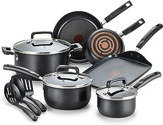 T-fal 特福 Signature不粘專業Thermo-Spot熱指示器 洗碗機可洗 廚具套裝 12件 黑色