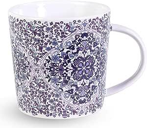 Vera Bradley 陶瓷咖啡杯/茶杯,可用洗碗机清洗和微波炉加热,12 盎司(约 354.9 毫升) Regal Rosette 196748