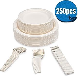 SevenT2 250 件可堆肥纸盘,生物降解,一次性,重型,可回收纸盘,环保一次性器具,餐盘,甜点盘,叉子,刀和勺子(每个50个)