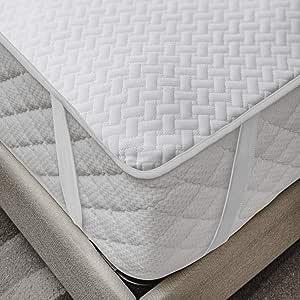 Ambesonne 床垫保护罩防水透气床单带床笠 白色 两个 XL alez_a02_twinxl