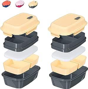 Fresh Box 优质便当午餐盒 - 防漏、无双酚 A,多隔层,可拆卸微波炉通气、可转换食品容器,带可重新冷冻和可拆卸冰袋 Cream/Grey