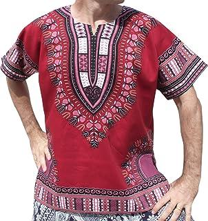 Raan Pah Muang 品牌中性款亮色棉质非洲大喜吉衬衫正面无褶
