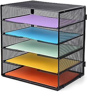 Mesh Office 桌面收纳包,5 层黑色金属网格字母托盘,用于整理文件、纸张、账单、文件夹、字母、活页夹等。
