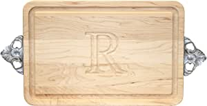 """CHUBBCO 200-SC-R Thick Bar/Cheese Board with Scalloped Cast Aluminum Handle, 9-Inch by 12-Inch by 3/4-Inch, Monogrammed""""R"""", Maple"""