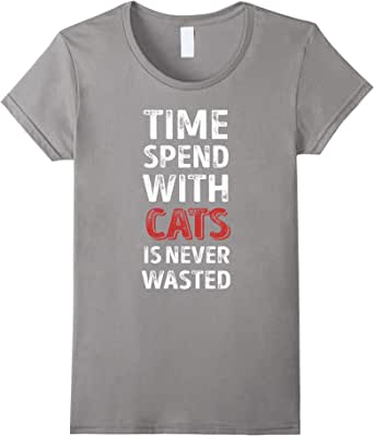 Time spend with cats is never wasted T-shirt 蓝灰色 Female Small