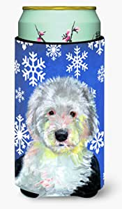Caroline's Treasures LH9306-Parent Old English Sheepdog 冬季雪花节日*饮料保温器适用于苗条罐 LH9306MUK,多色 多种颜色 Tall Boy LH9306TBC