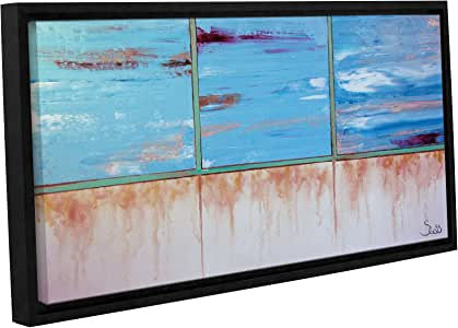 """ArtWall Shiela Gosselin's Turquoise and Gold Gallery Wrapped Floater Framed Canvas, 18 by 36"""""""