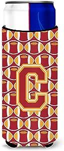 Caroline's Treasures CJ1070-CLITERK Letter C Football Cardinal and Gold Wine Bottle Koozie Hugger, 750ml, Multicolor