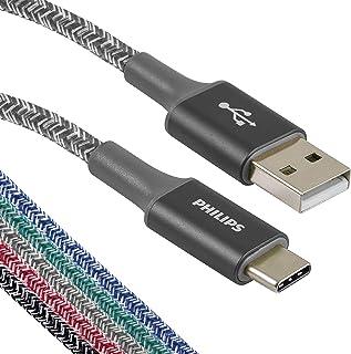 Philips USB C 型线缆,USB-A 转 USB-C 红色耐用编织快速充电线,兼容 iPad Pro、MacBook Pro、Samsung Galaxy S10 S9 Note 9 8 S8 Plus,DLC5226RA/37DLC...