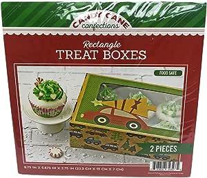 """节日圣诞快乐 2 件套矩形盒,带透明窗口棕色工艺假日饼干纸杯蛋糕装饰盒 Cars & Christmas Trees 8.75"""" x 5.87"""" x 2.75"""" 30727"""