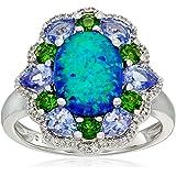标准纯银 created 绿色猫眼石,坦桑黝帘石,铬透辉石和人工白色蓝宝石戒指,尺码7